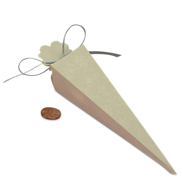 "Cardboard Clear Lace Cone Favor Boxes - Quantity: 20 Width: 1 1/2"" Length: 6"" by Paper Mart"
