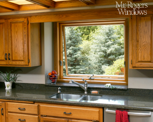 Awning Window Kitchen Sink Stained Wood