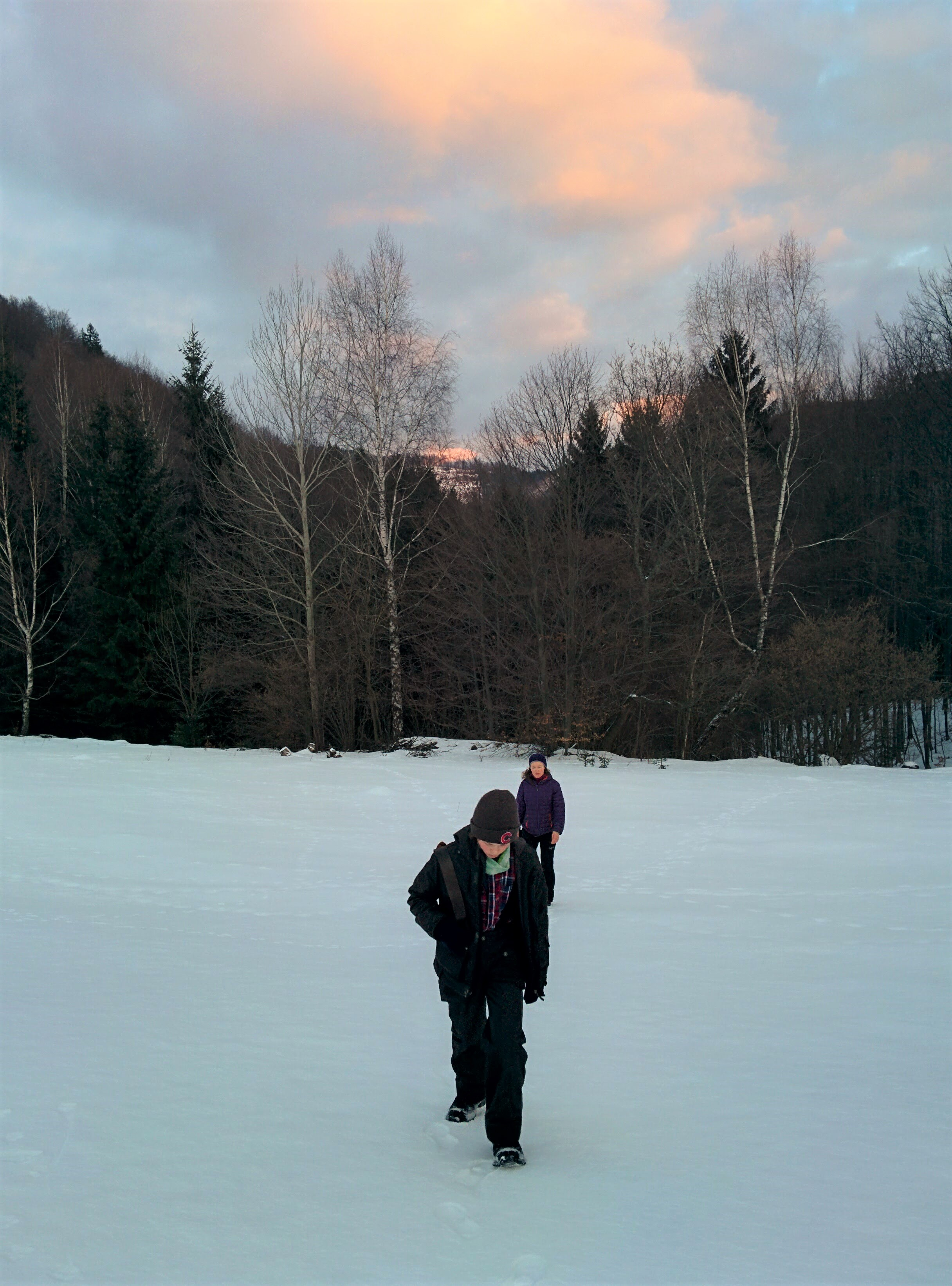 Coming back from a short Sunday hike on Fintova--a hill near our property.