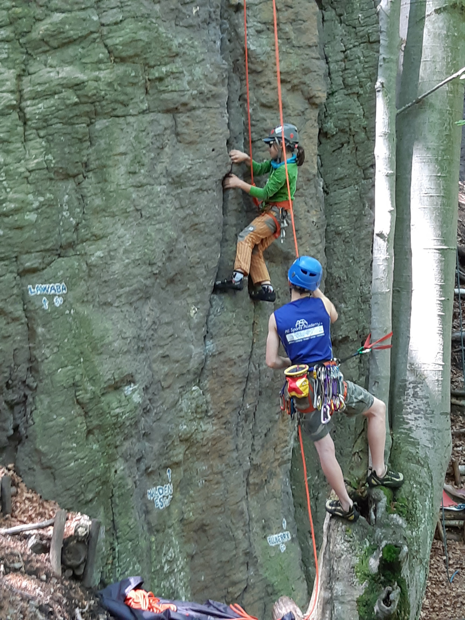 Sometimes there's no good place to stand for the belay.