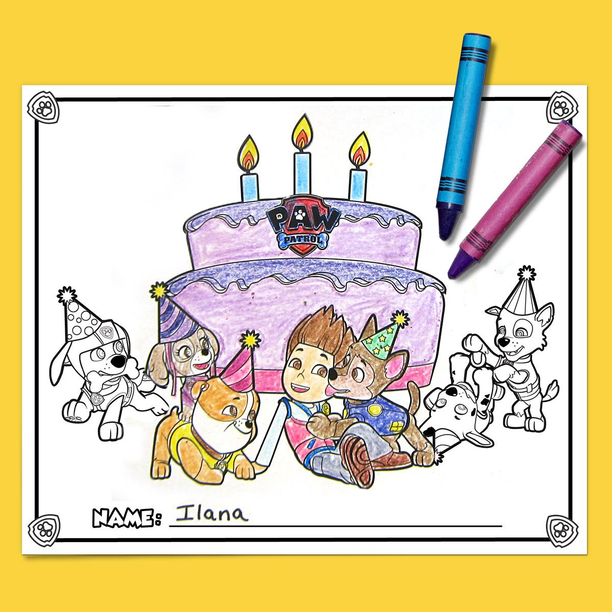 Nick Jr Birthday Party Coloring Printables