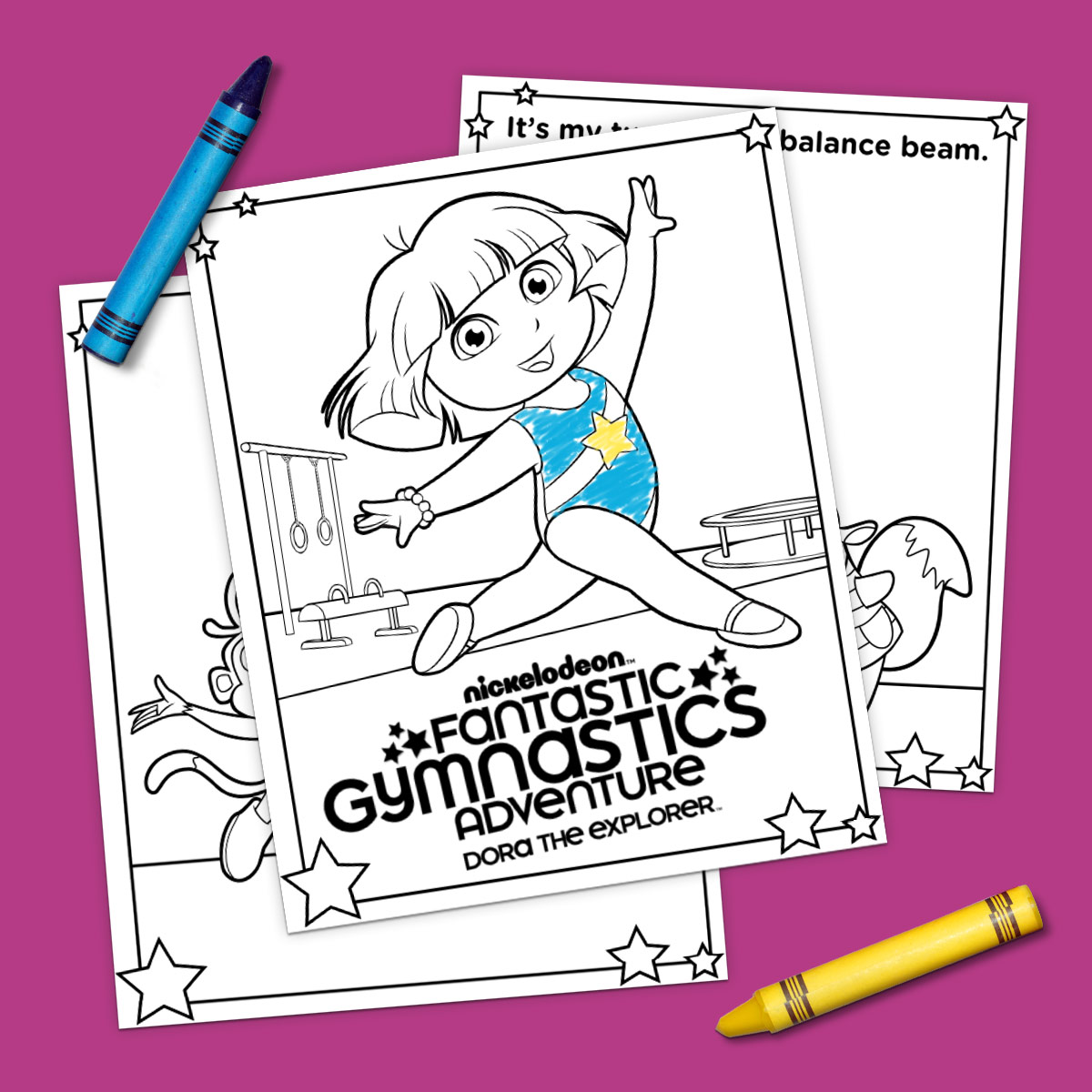 Dora The Explorer Gymnastics Coloring Pages