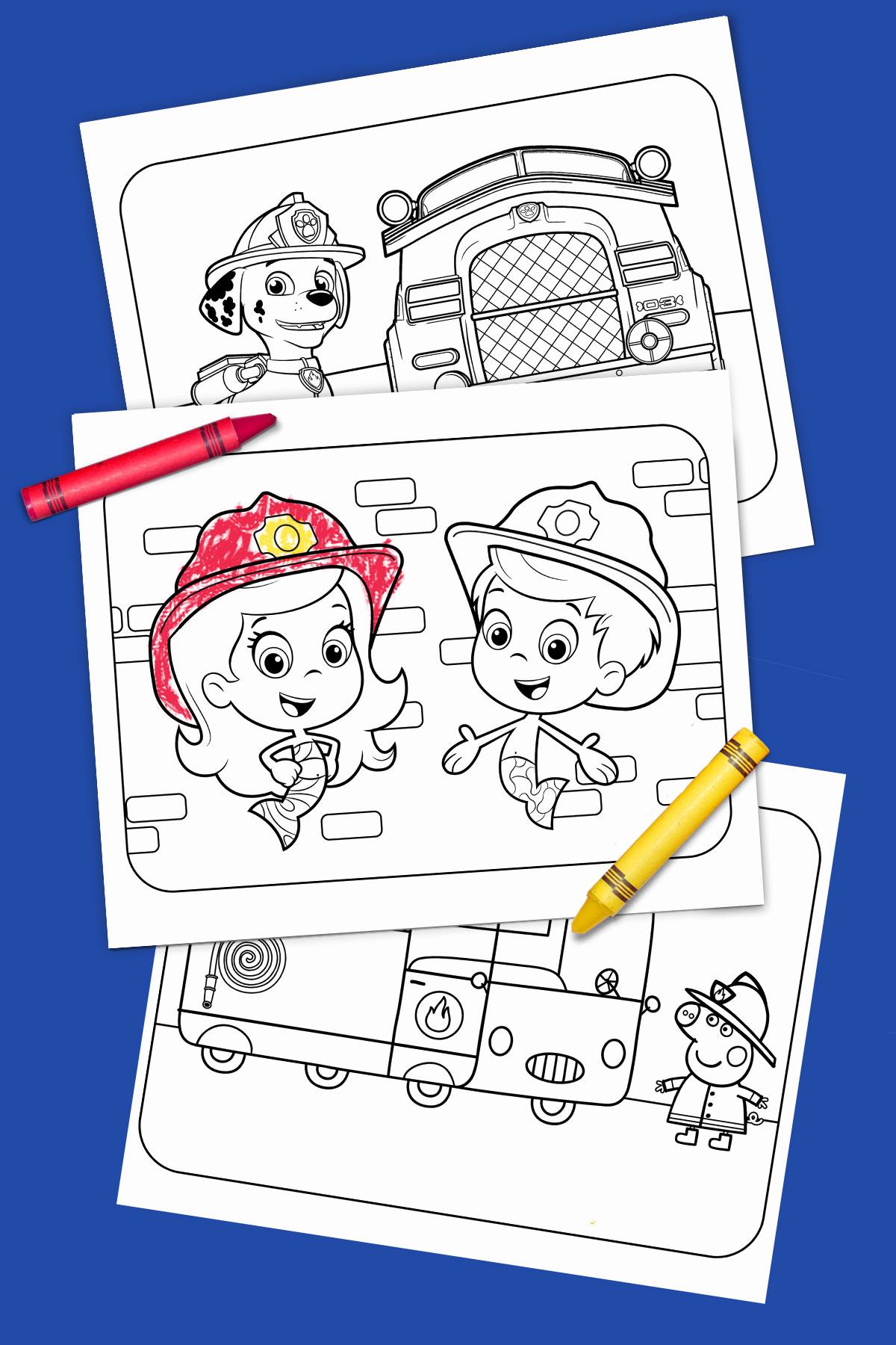 Fire Truck Heroes Printable Coloring Pack