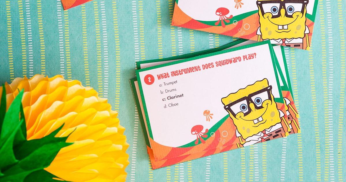 SpongeBob Printable Trivia Card Game Nickelodeon Parents