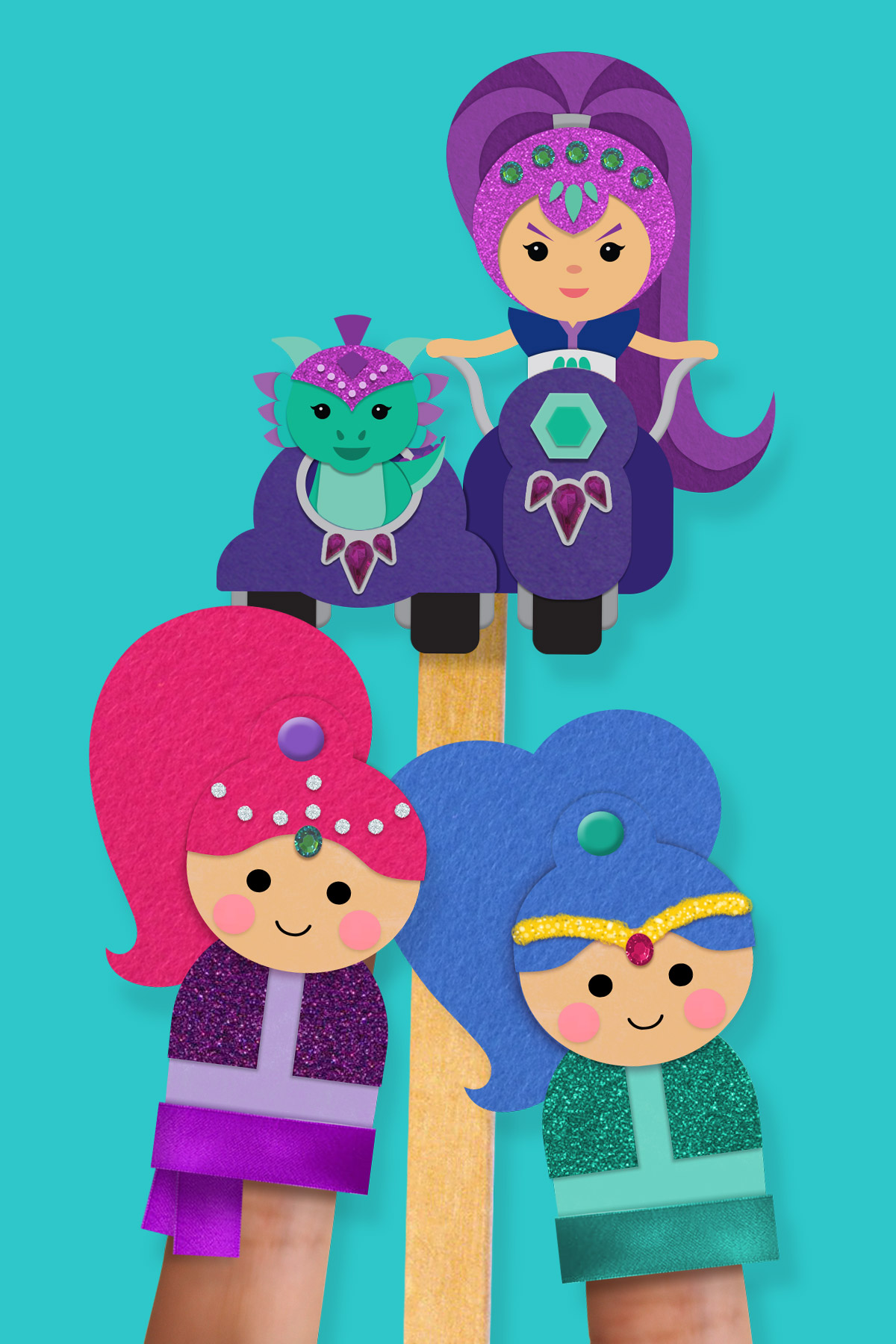 Shimmer And Shine Pinkie Pals Finger Puppets