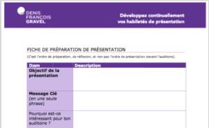 Plan de présentation par Denis François Gravel