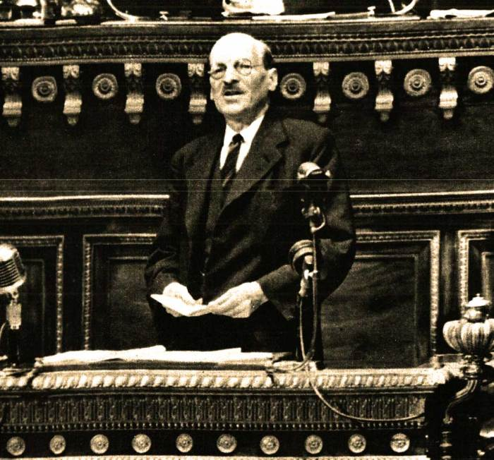 Prime Minister Clement Atlee - handed a Post-War Migraine with the promise of Aspirin.