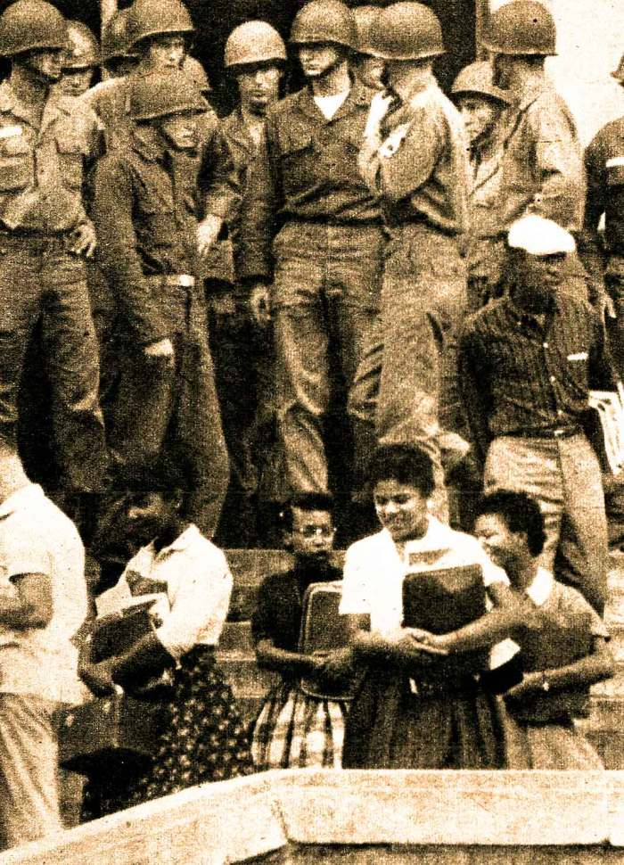 Scene at Central High - September 1957 - not without bayonets.