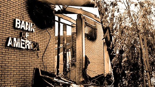 Burned out Isla Vista Bank Of America - Feb. 1970.