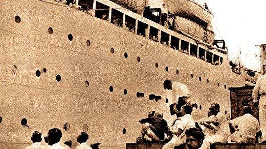 Last Ship of Dutch Nationals Leaving Djakarta