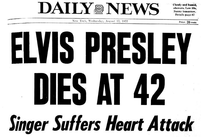 Elvis Presley death August 16, 1977