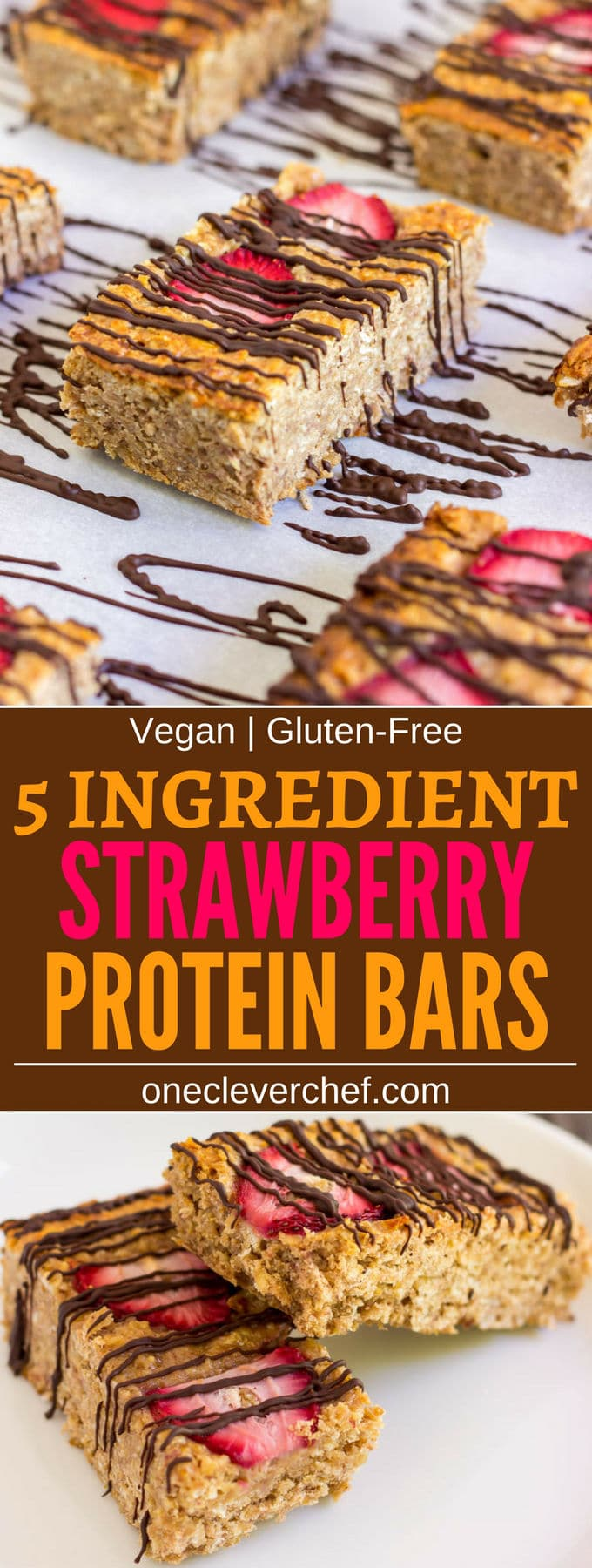 These healthy strawberry protein bars are made with only 5 ingredients. Convenient and quick, this delicious snack packs a lot of nutrients and is guaranteed to fill you up until lunch on a busy day. Vegan, Gluten-Free, Dairy-free and flourless these bars are friendly to most popular diet trends.   www.onecleverchef.com