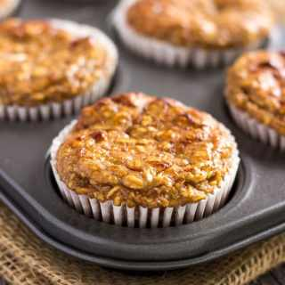 I love these super moist and tender apple protein muffins. These yummy little ones are protein-packed, 100% healthy, naturally sweetened with maple syrup (could be replaced with honey) and extra easy to make. They are the perfect on-the-go clean eating breakfast or post-workout lunch. These are also gluten-free, dairy-free and can be made vegan by replacing the eggs with flax eggs or applesauce. | onecleverchef.com