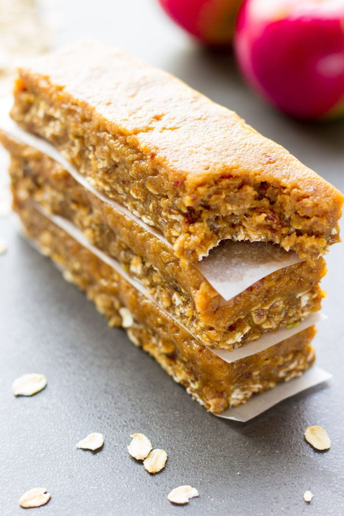 These delicious no-bake protein bars are a must-try fall season treat. Easy to make and super healthy, they taste like your grandma's caramel apple pie, without the calories, refined-sugar and all the bad stuff. Raw, entirely gluten-free, vegan, dairy-free, egg-free, flourless and refined sugar-free, these delicious protein bars are the perfect breakfast, snack or post-workout treat.   www.onecleverchef.com
