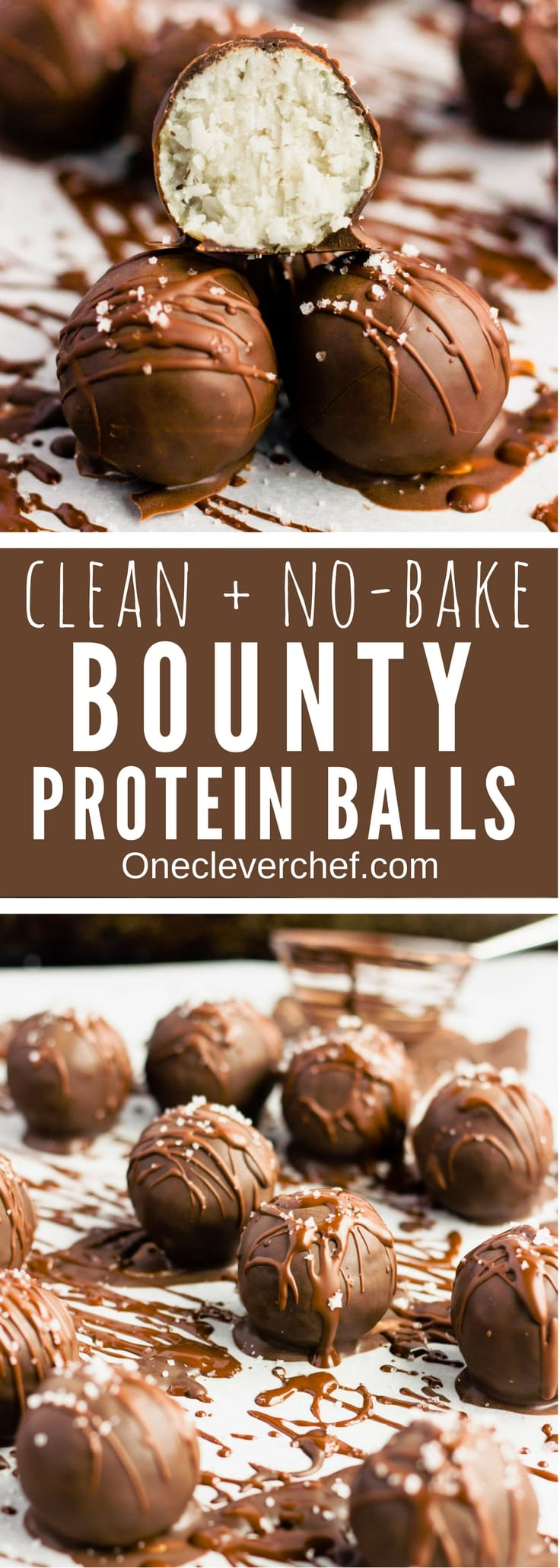 These chocolate covered protein bounty balls are a healthy, homemade version of the classic candy bar. Made of only 6 simple ingredients, these easy to make protein balls are the perfect post-workout treat. This no-bake recipe is also paleo, vegan, gluten-free, flourless, dairy-free and… guilt-free! | www.onecleverchef.com #paleo #vegan #glutenfree #postworkout #protein #healthy #treat #cleaneating