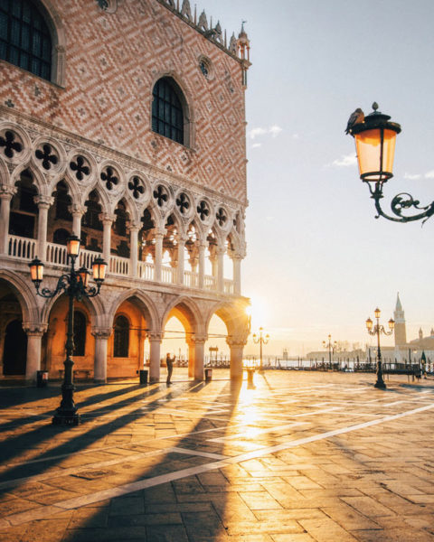 The Doge's Palace at sunrise in Venice, Italy