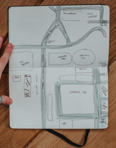 A notebook with a hand-drawn map