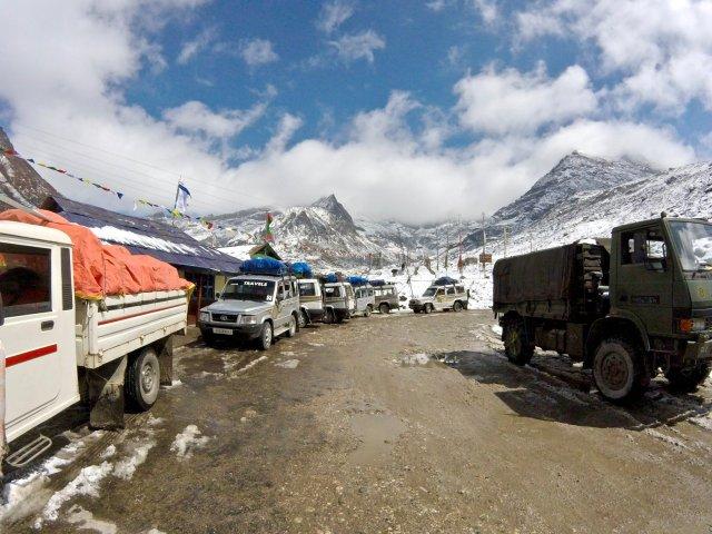 Jeeps driving through the mountains in Arunachal Pradesh, India's northeastern region