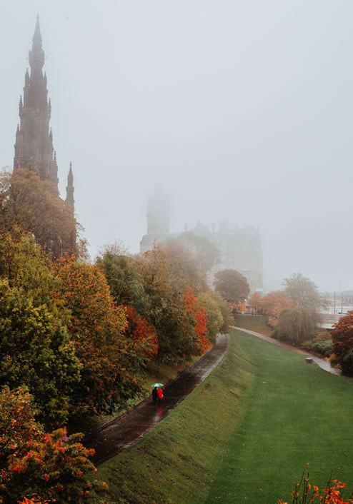 The Walter Scott Monument in Edinburgh on a foggy day