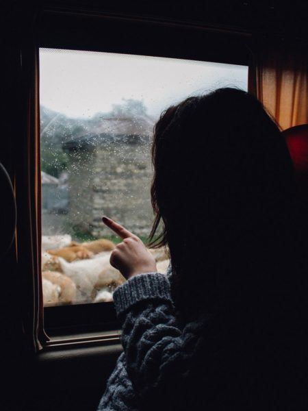 A woman pointing out a window on a train