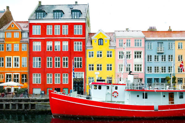 Colorful houses in Copenhagen, Denmark.