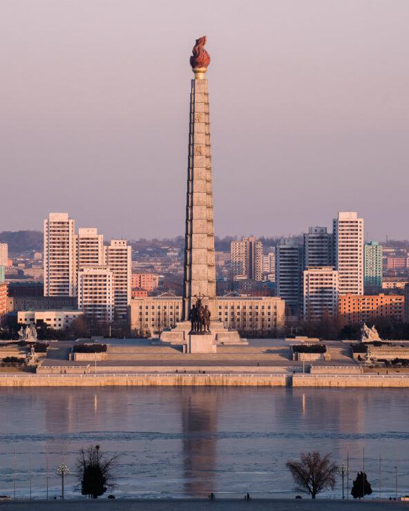 Juche Tower in Pyongyang, North Korea