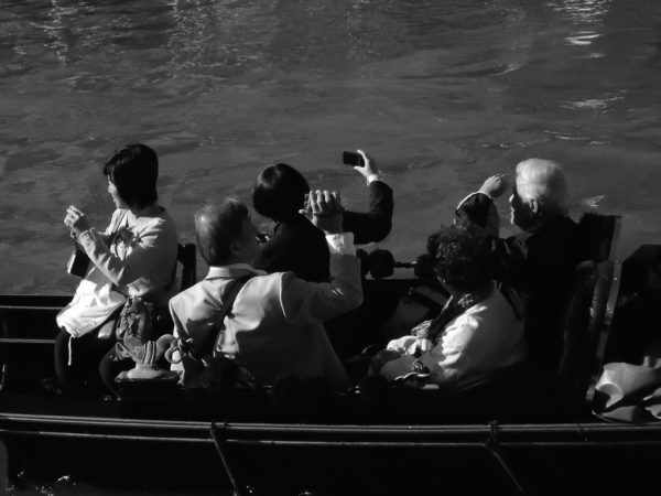 Tourists in a Venetian gondola