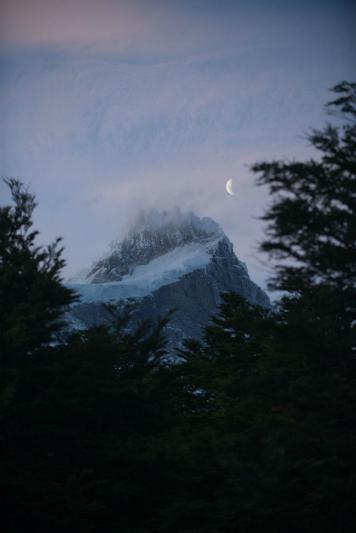 A moonrise in Patagonia.