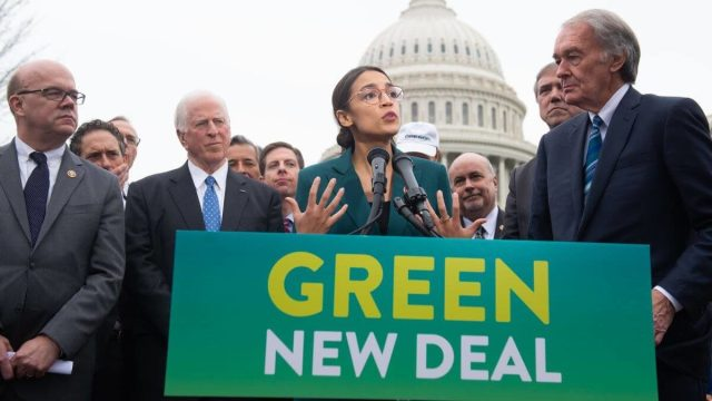 "Alexandra Ocasio-Cortez and other politicians hold a press conference on the climate change legislation ""Green New Deal"""