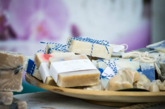 Rustic bars of soap on a plate