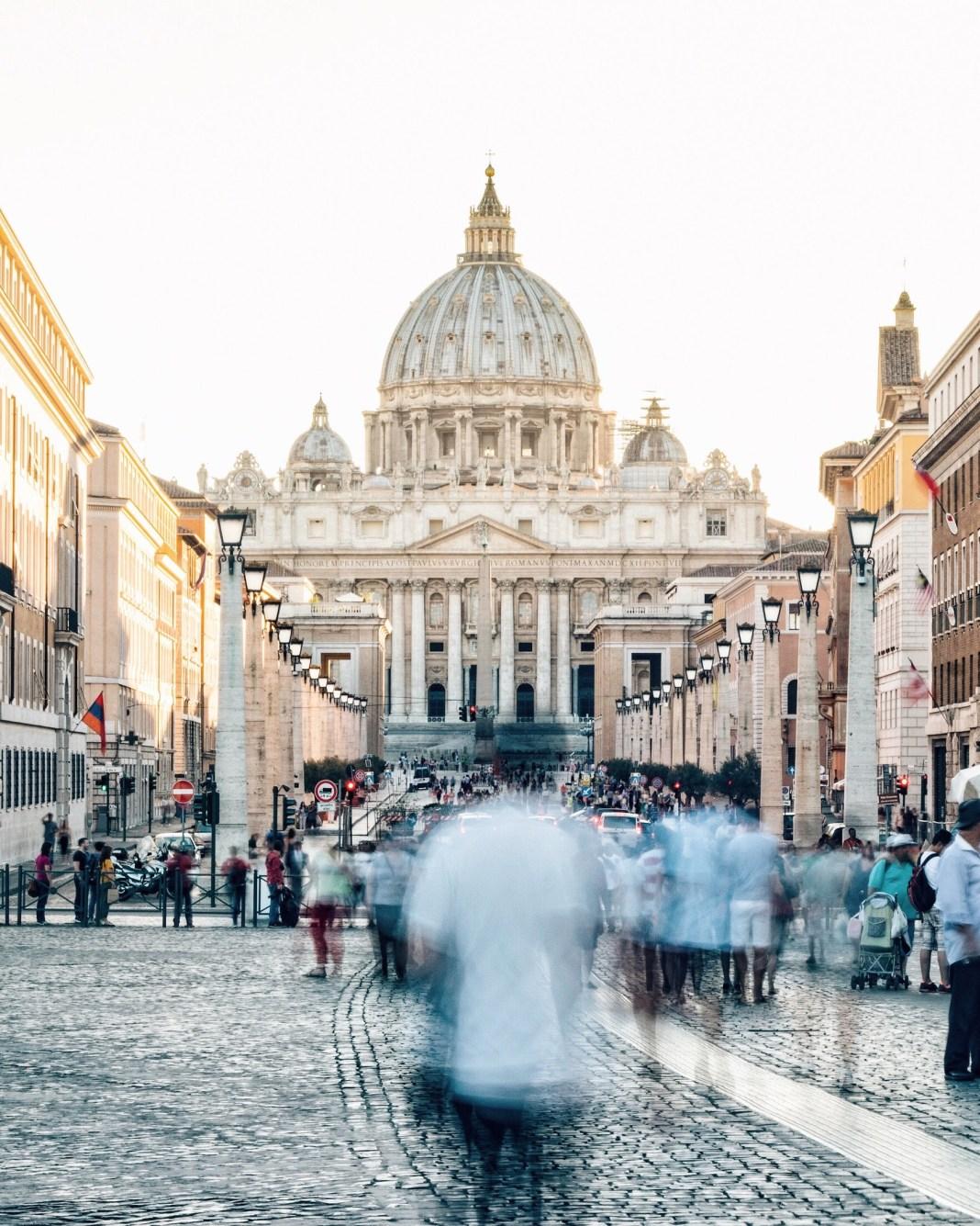 People Walking in a Blur in Vatican City