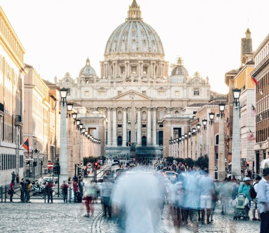 People Walking in a Blur in Vatican City