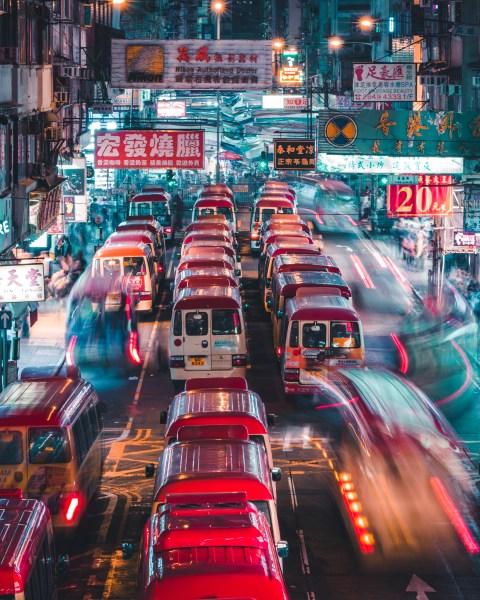 Rush Hour at Night in Mong Kok, Hong Kong