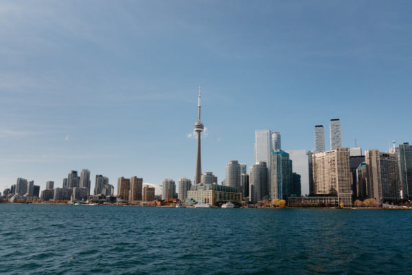 A view of downtown Toronto from the central island ferry.