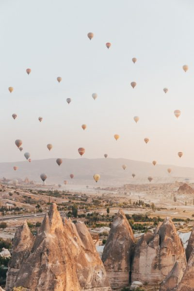 Hot Air Balloons in Flight over Cappadocia, Turkey