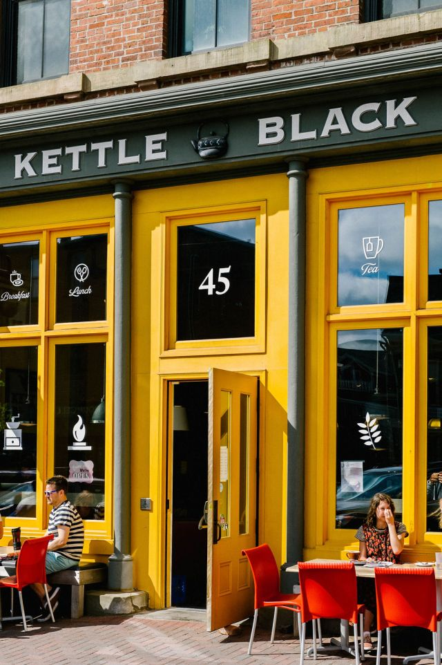 The exterior of the kettle black cafe on Prince Edward Island.
