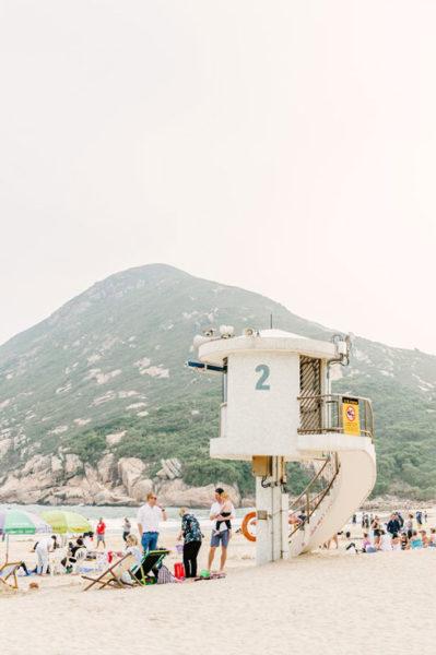 People at Shek O Beach in Hong Kong's Southern District