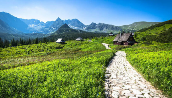 Green pastures and mountain huts in Tatra National Park, Poland