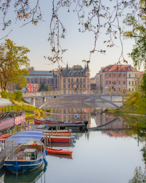 the wroclaw riverside in poland