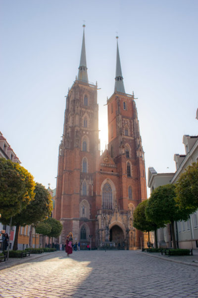 wroclaw poland cathedral at dawn