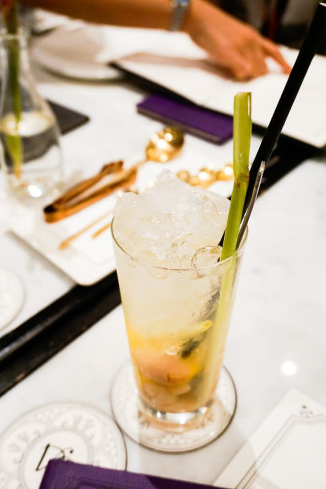 a cocktail on a table in a restaurant