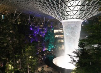 the rain vortex in singapore's changi airport