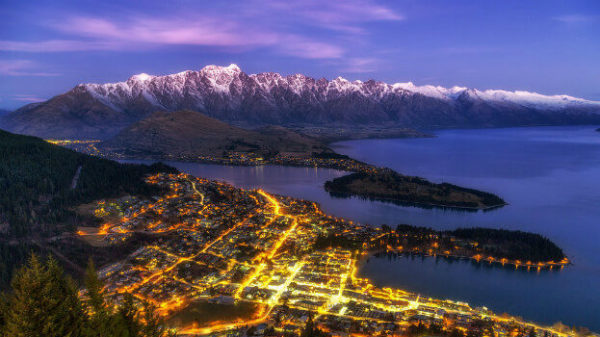 View of Queenstown from Skyine Gondola at night