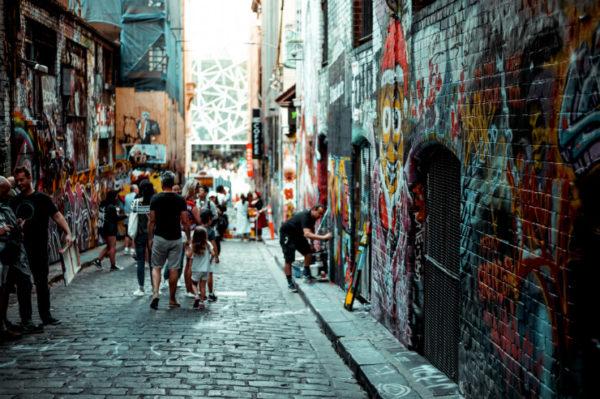 Street art down one of Melbourne's laneways
