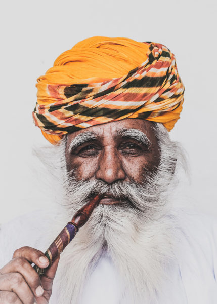 Portrait of a Man in Yellow in Mehrangarh Fort, India