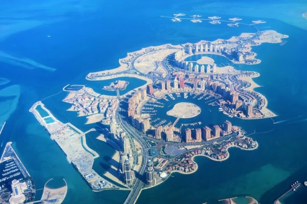 aerial shot of the pearl qatar in doha