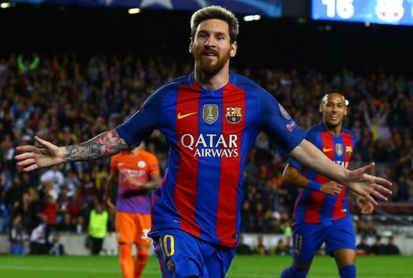 lionel messi celebrates scoring a goal