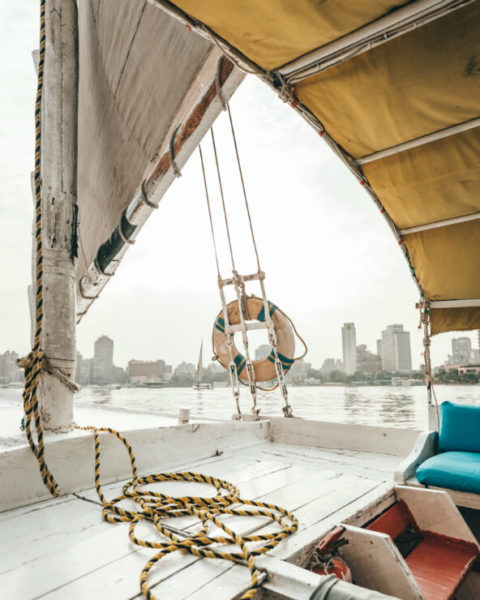 Sailboat on the Nile river