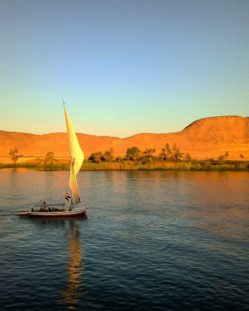 Sailboat on the Nile at sunset