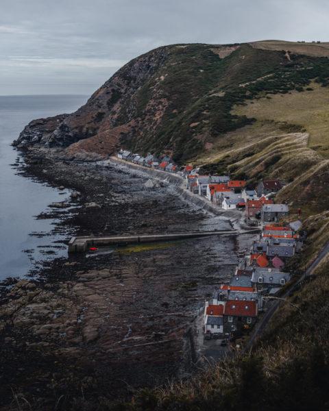 village built into cliffside